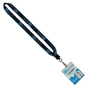 "3/4"" Dye-Sublimated Lanyard With Clamshell & Vinyl Snap & 4""x6"" Plastic Badge"