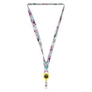 "3/4"" LA-460 Attachment HT Sublimation Lanyard w/ Retractable Badge Holder"